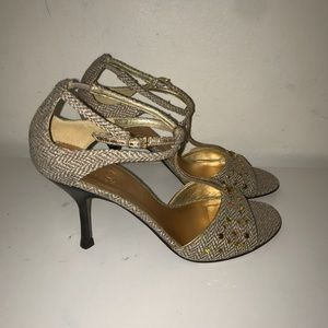 Cole Haan tweed and bejeweled ankle strap heels
